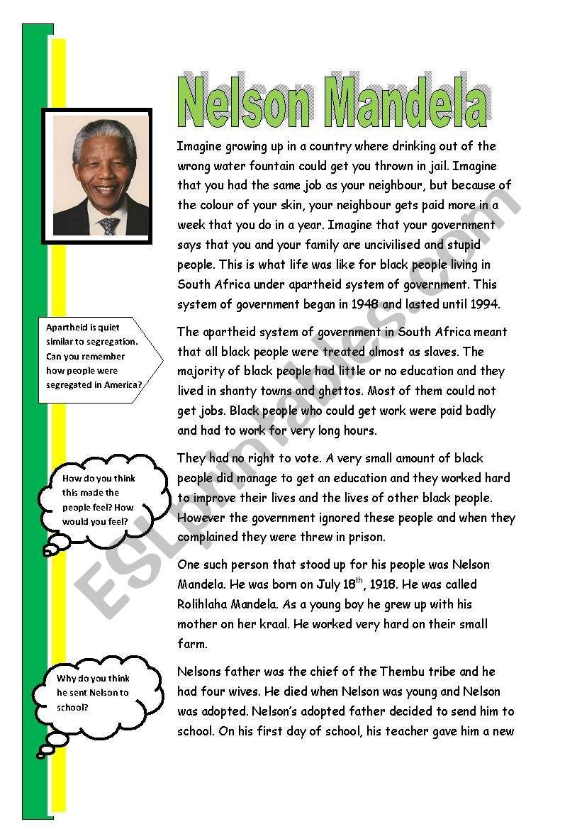 NelsonMandela worksheet