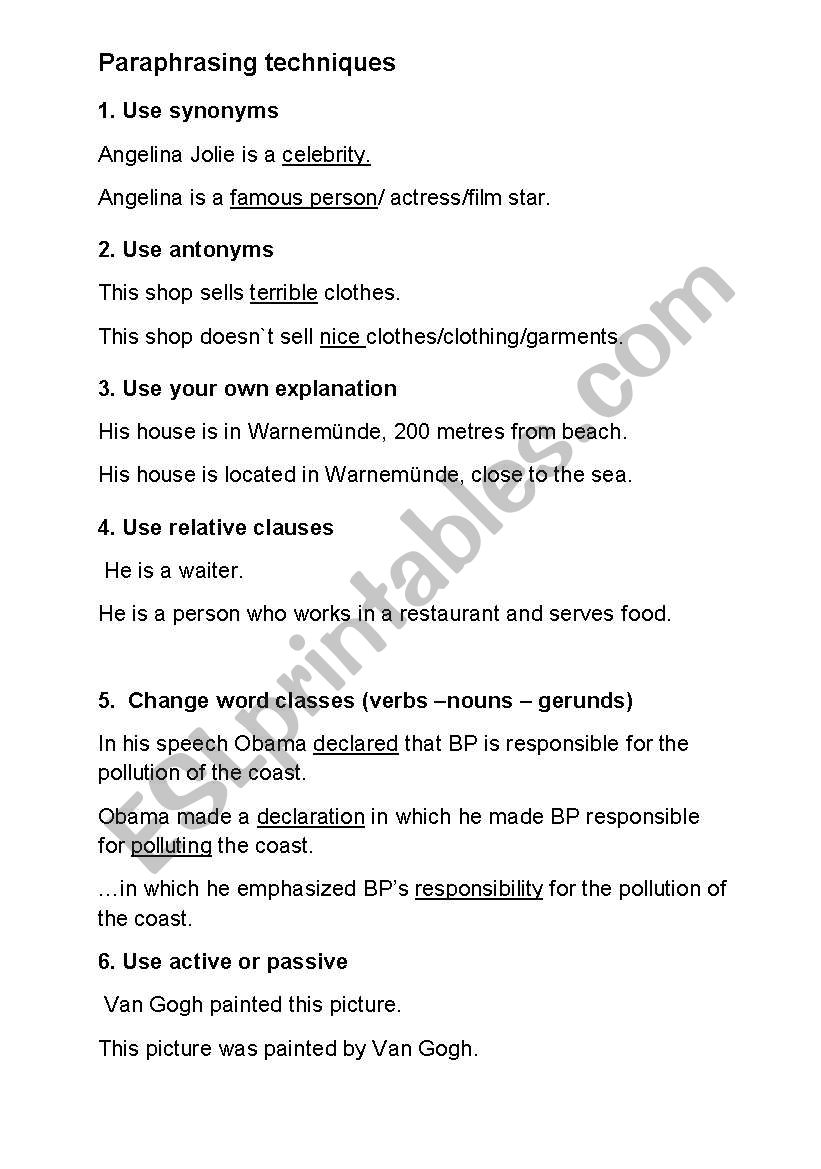 Paraphrasing techniques - ESL worksheet by christine-j