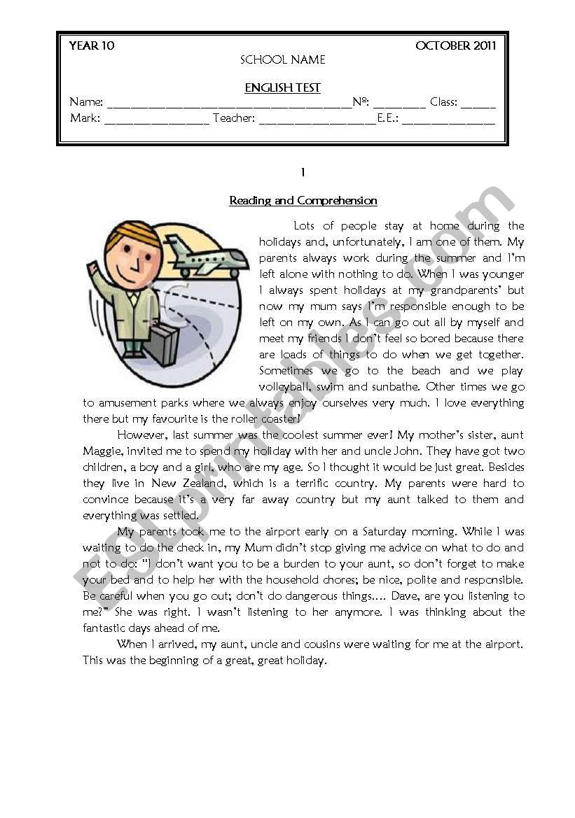- TEST GRADE 10 - ESL Worksheet By Coasvaf