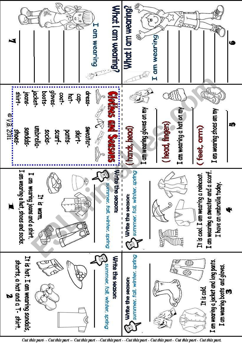 f24773dc923 Mini book-- Clothes and Seasons- - ( beginners) - ESL worksheet by ...