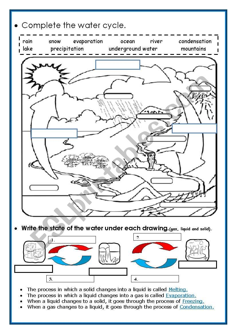 the water cycle esl worksheet by piedadrosell. Black Bedroom Furniture Sets. Home Design Ideas
