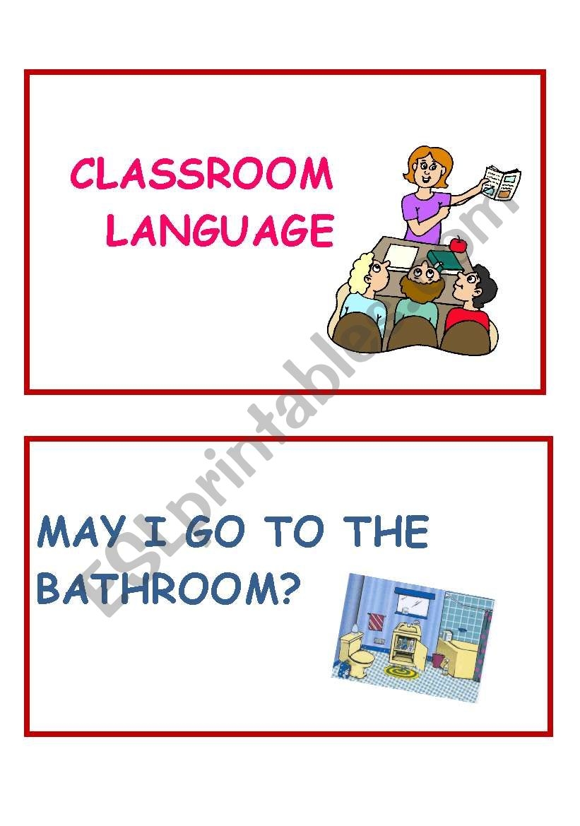 Classroom language part 1 worksheet