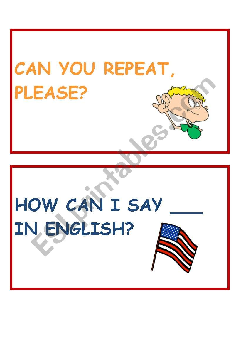 Classroom language cards part 2