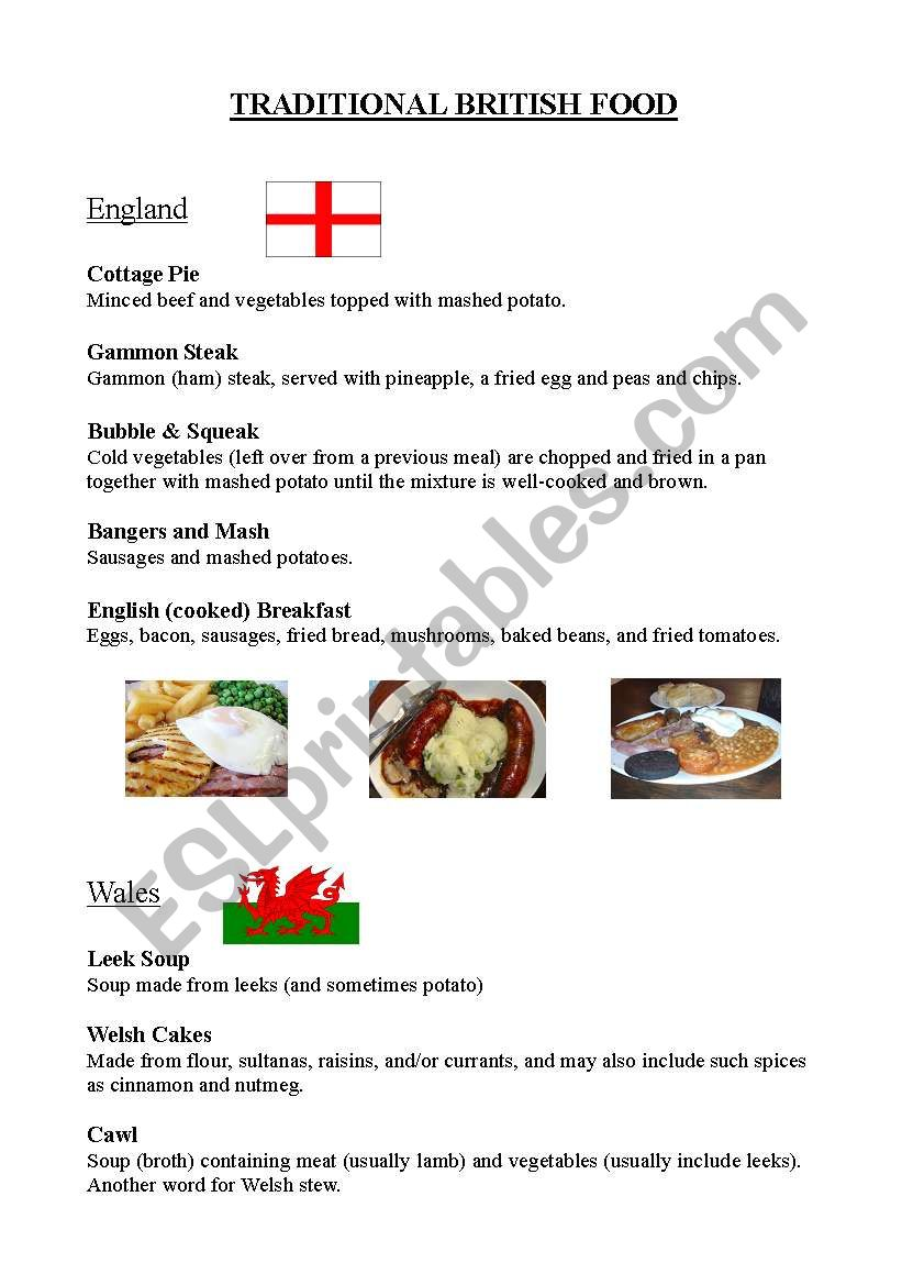 Traditional British Food worksheet