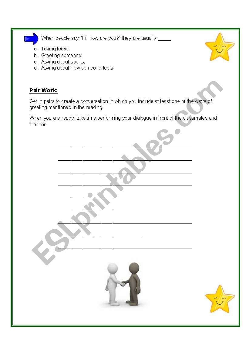 Different ways of greeting each other esl worksheet by vicmon m4hsunfo