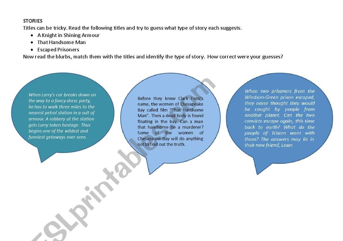 stories worksheet