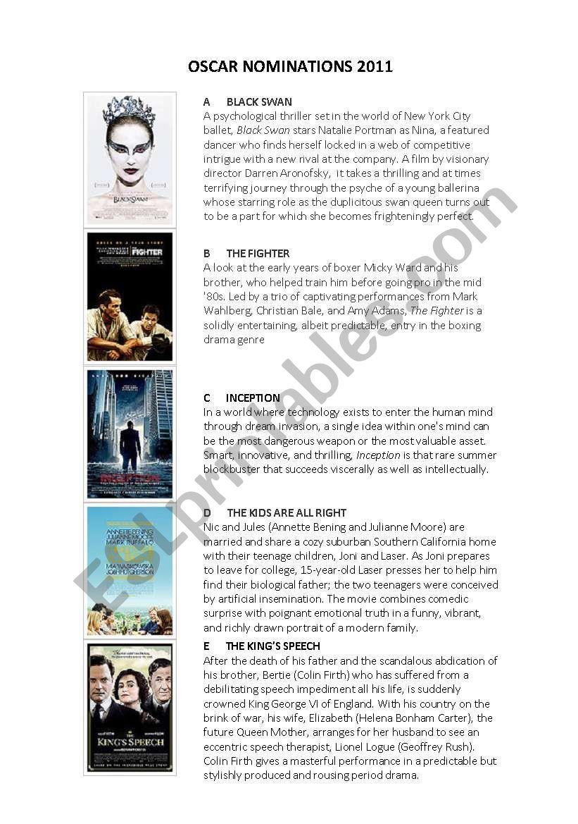 OSCARS NOMINATIONS 2011 worksheet