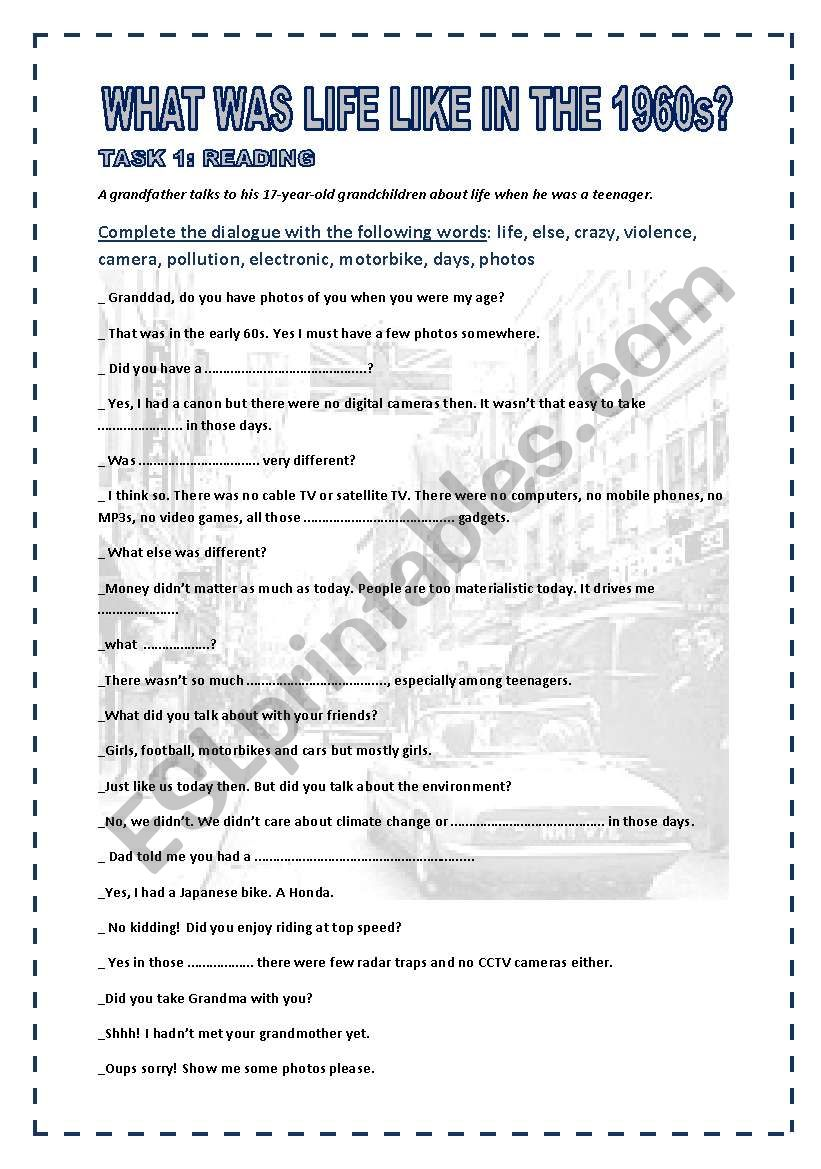 WHAT WAS LIFE LIKE IN THE 1960s ? 3 pages + KEY for teachers