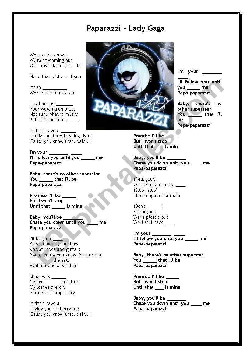 Paparazzi - Lady Gaga worksheet