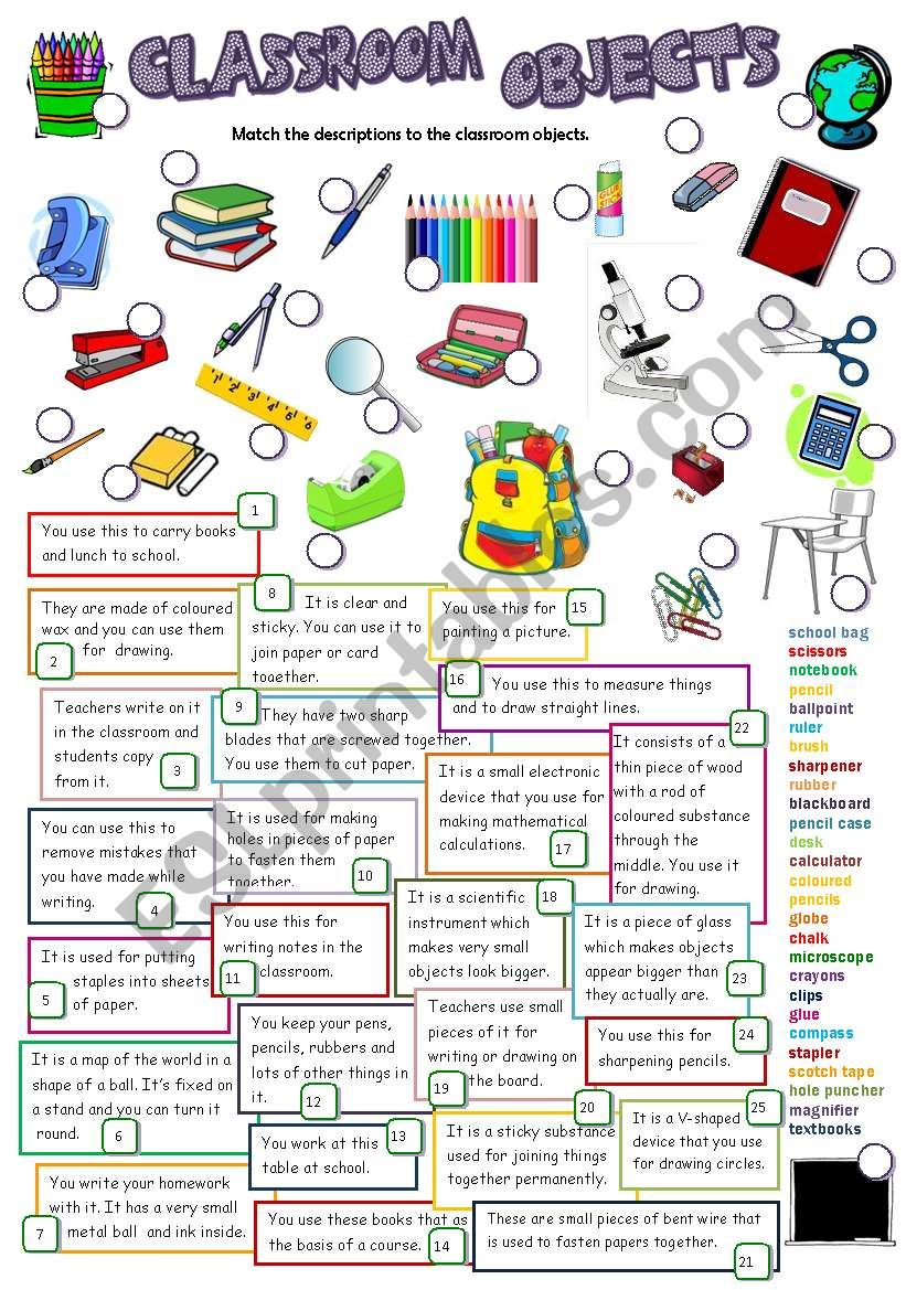 CLASSROOM OBJECTS (B&W +KEY) worksheet