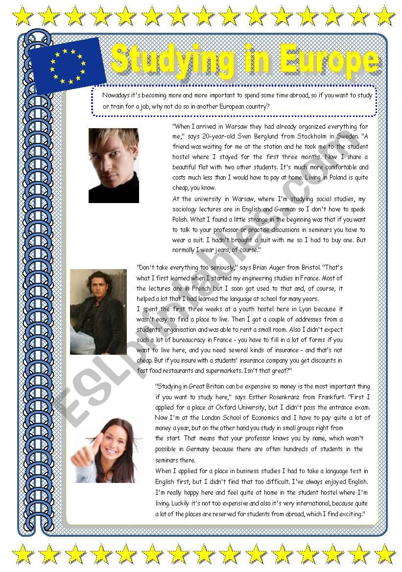 Studying in Europe worksheet