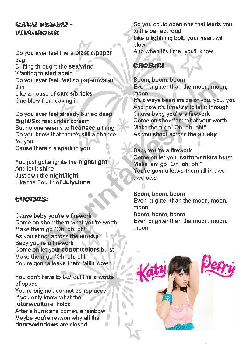 Firework - Katy Perry worksheet