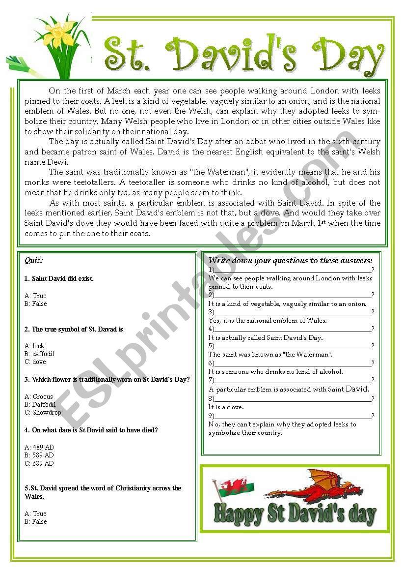 St. David´s Day worksheet