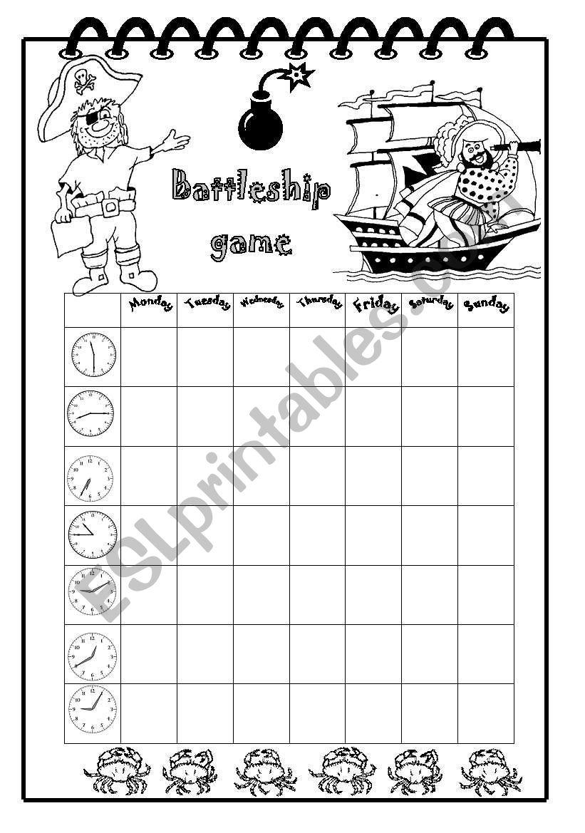 Time Battleship worksheet