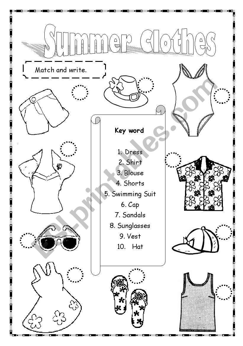 Summer Clothes Esl Worksheet By Saifonduan