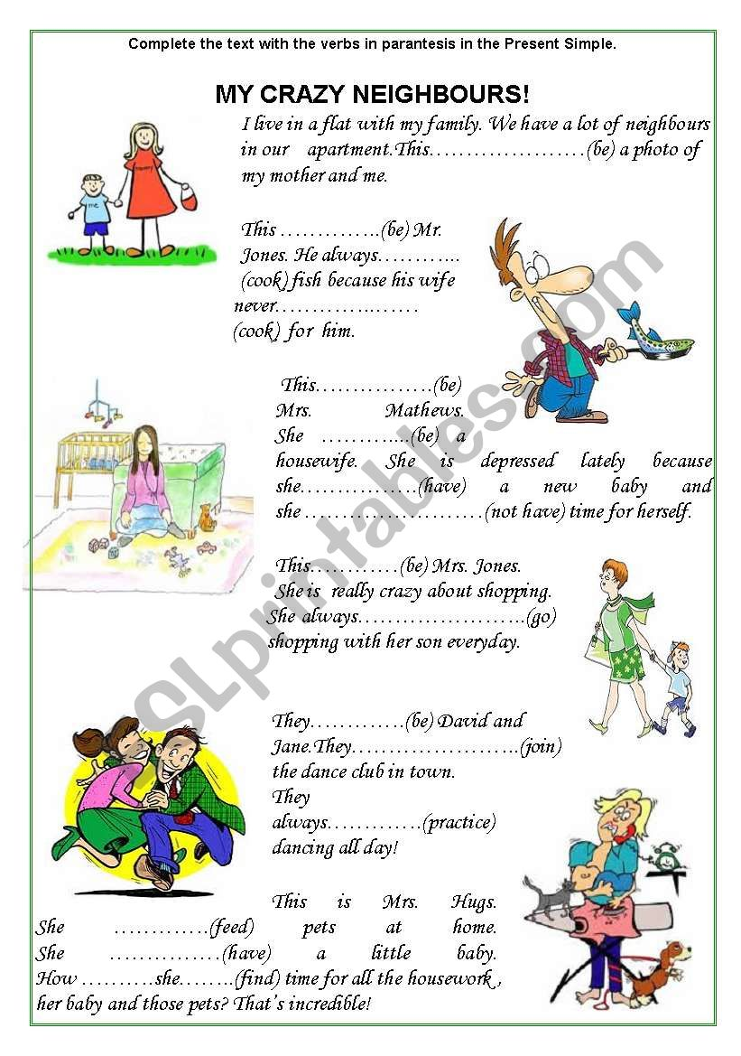 crazy neighbours part 1 worksheet