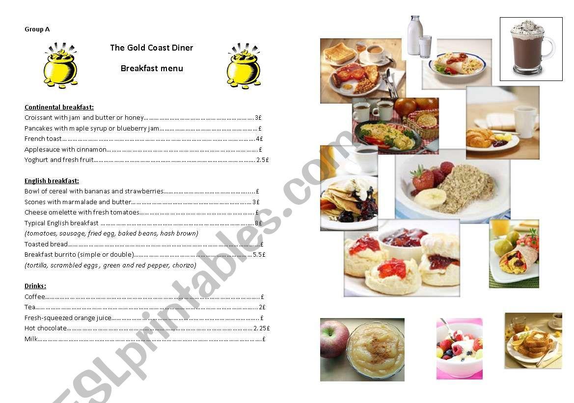 English breakfast project worksheet
