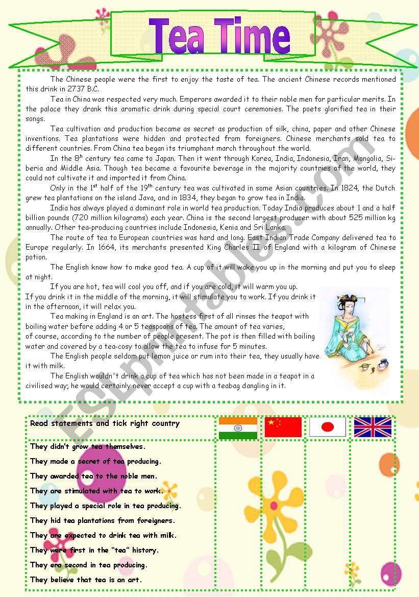 Tea Time worksheet