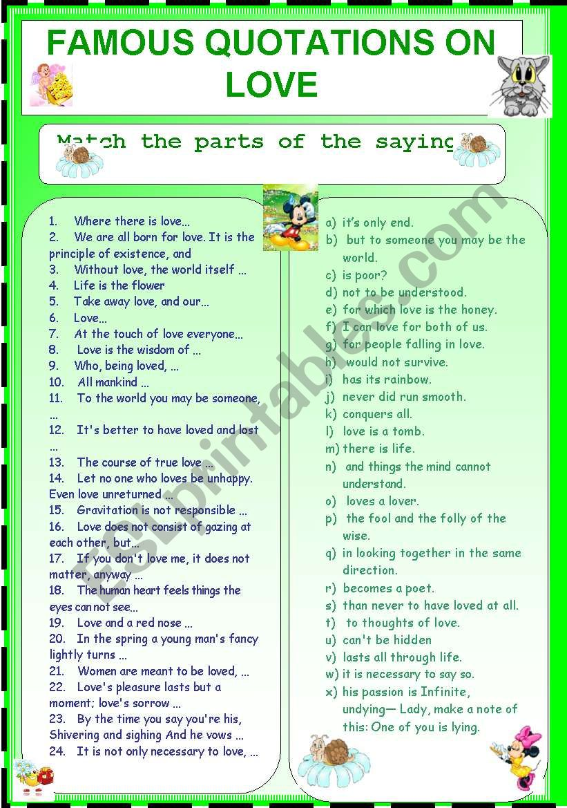 Famous Quotations on love worksheet