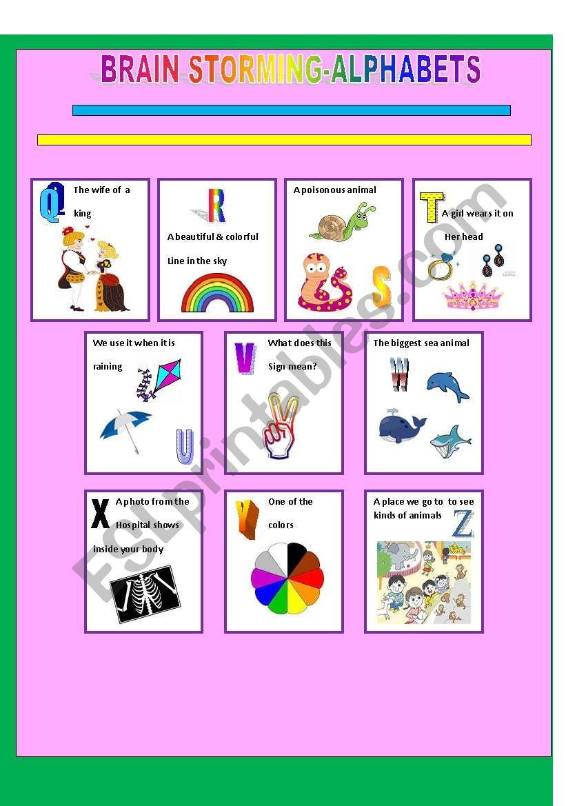 ALPHABETS(2)- BRAIN STORMING worksheet