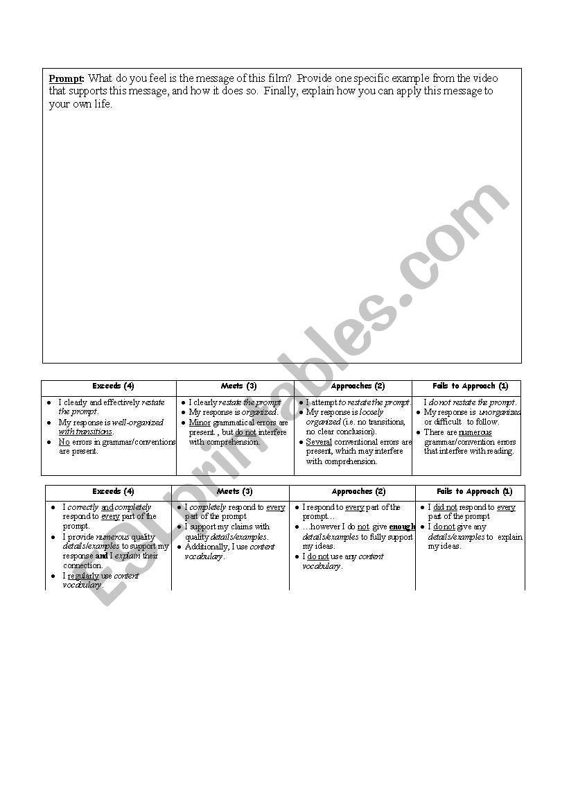 constructed response worksheet