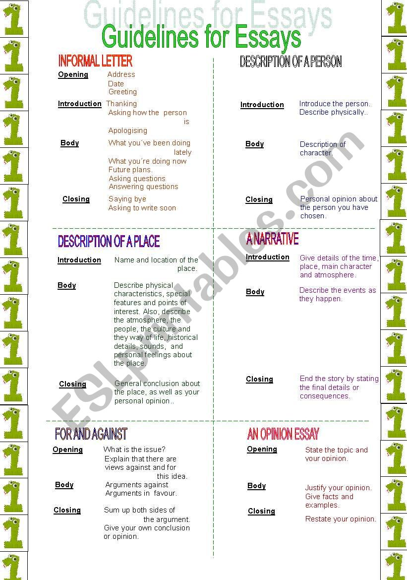 Guidelines for essays (1/2) worksheet