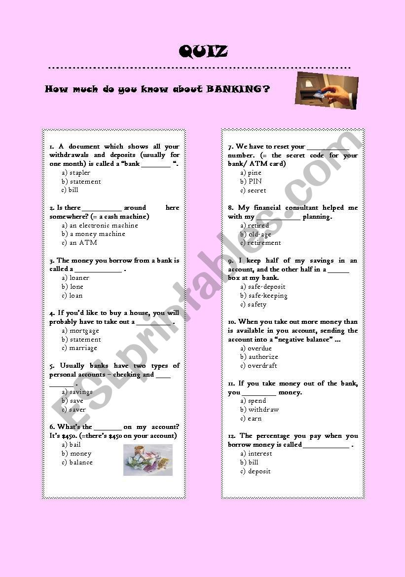 Quiz bank - Coursework Sample