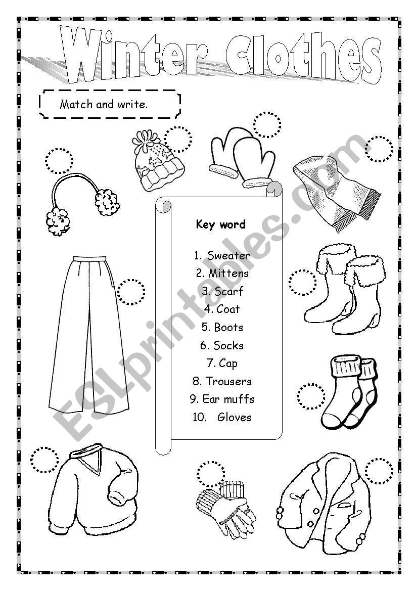863a25361be Winter Clothes - ESL worksheet by saifonduan