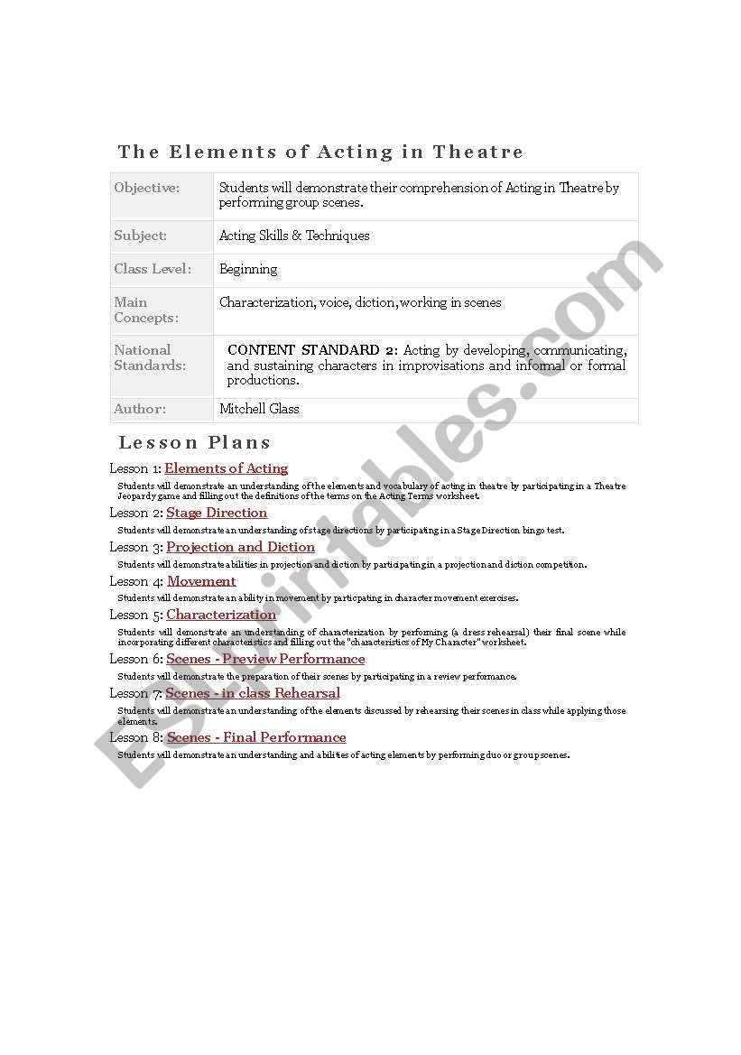 Worksheets Elements Of Drama Worksheet drama plan for elements of acting in english esl worksheet by english