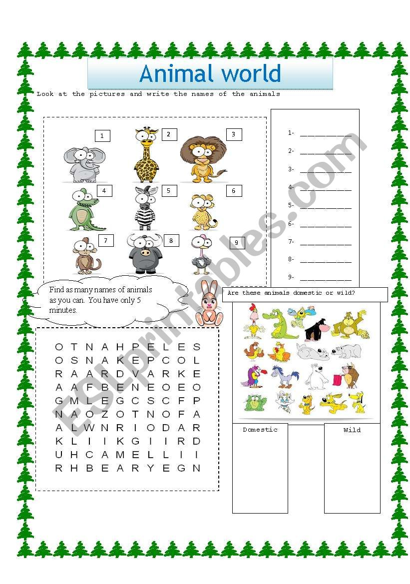 animal world esl worksheet by xbassemx. Black Bedroom Furniture Sets. Home Design Ideas