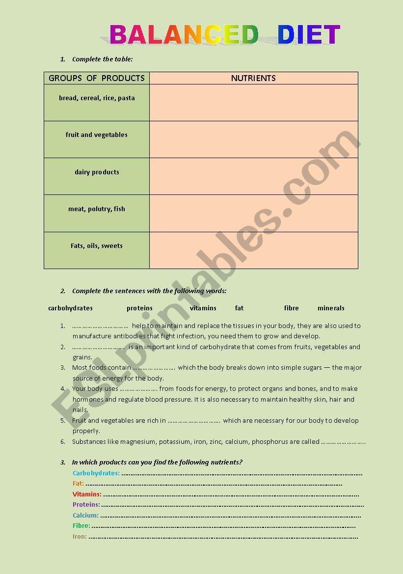 A Balanced Diet Esl Worksheet By Rakola