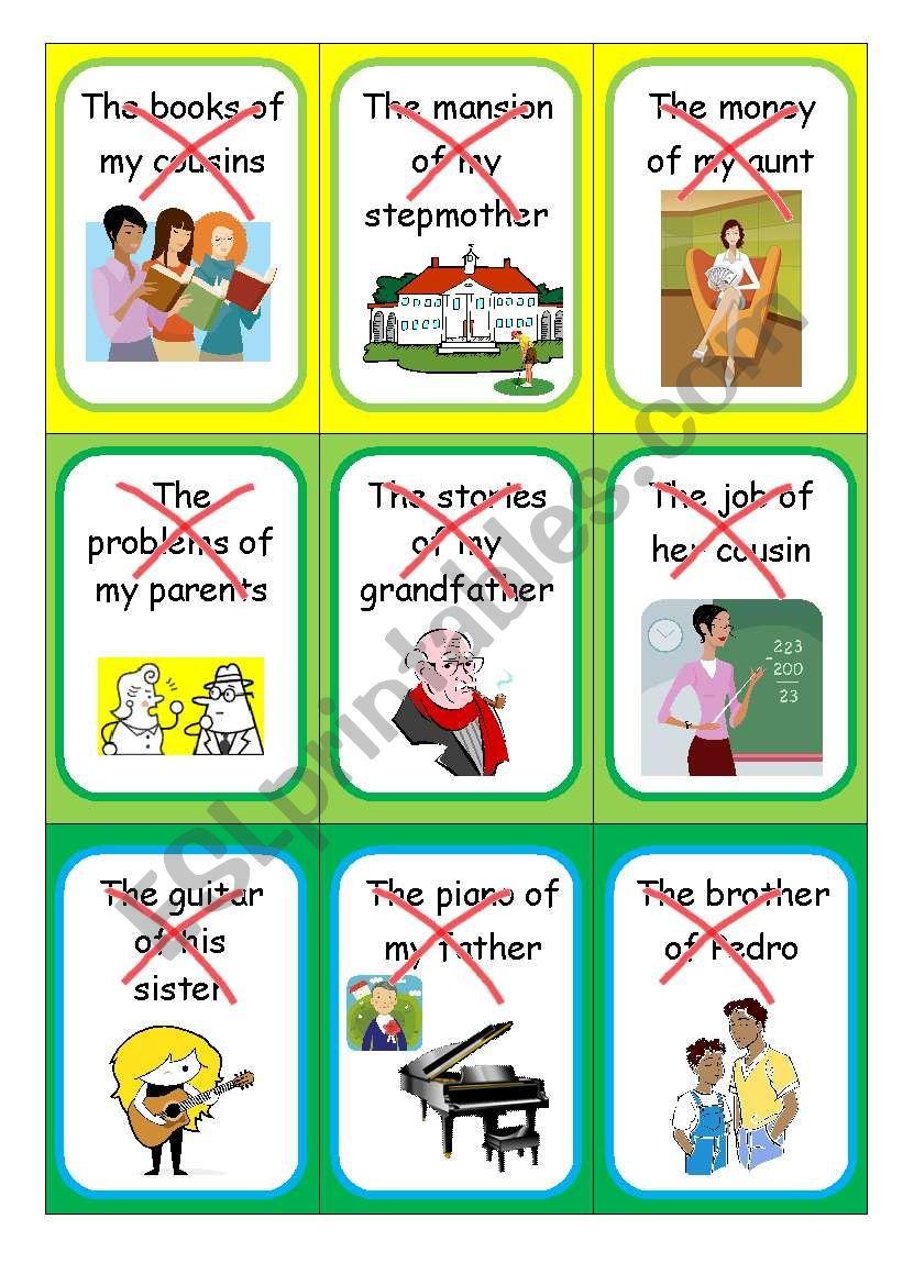 The Possessive Case - Speaking cards I
