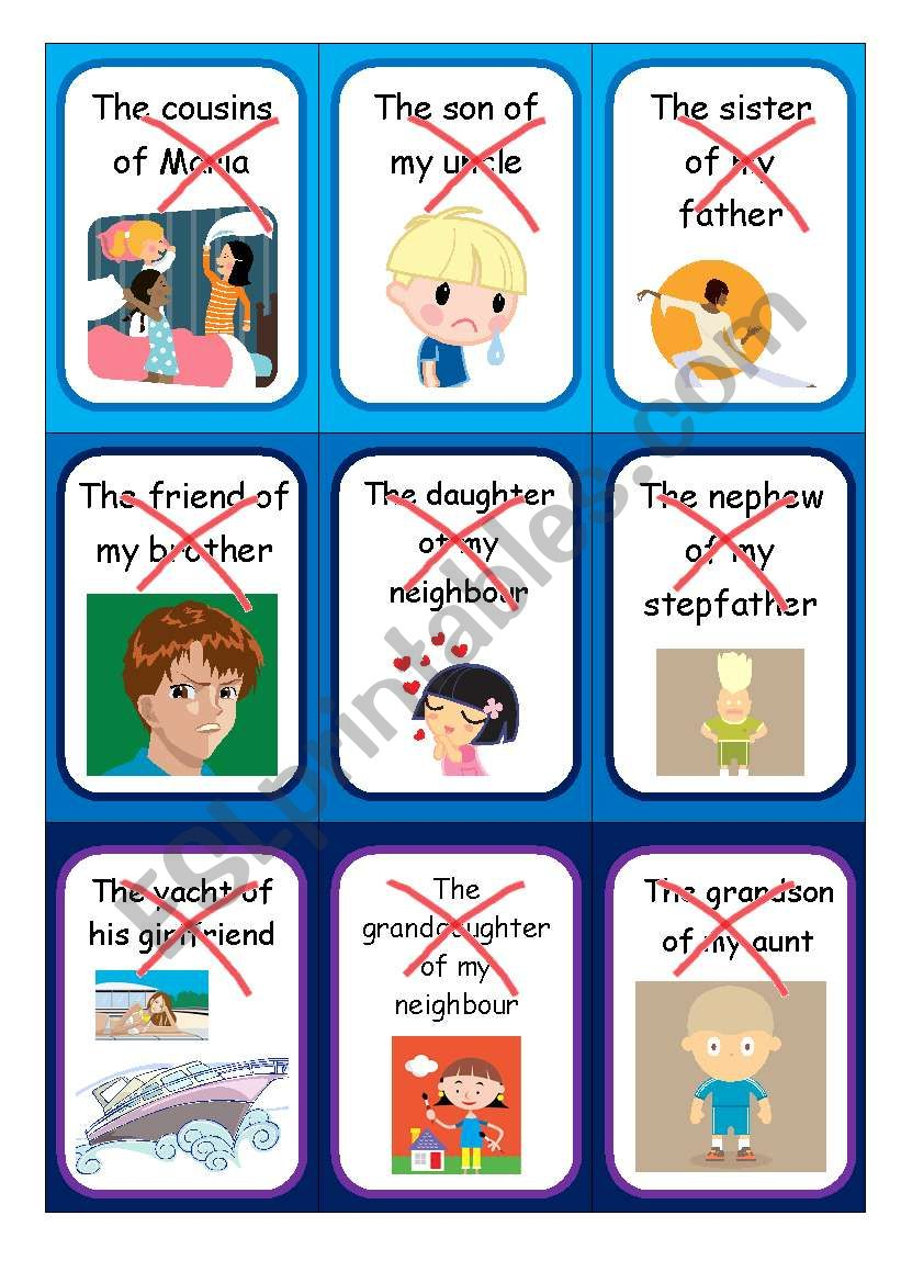 Possessive case - Speaking cards II