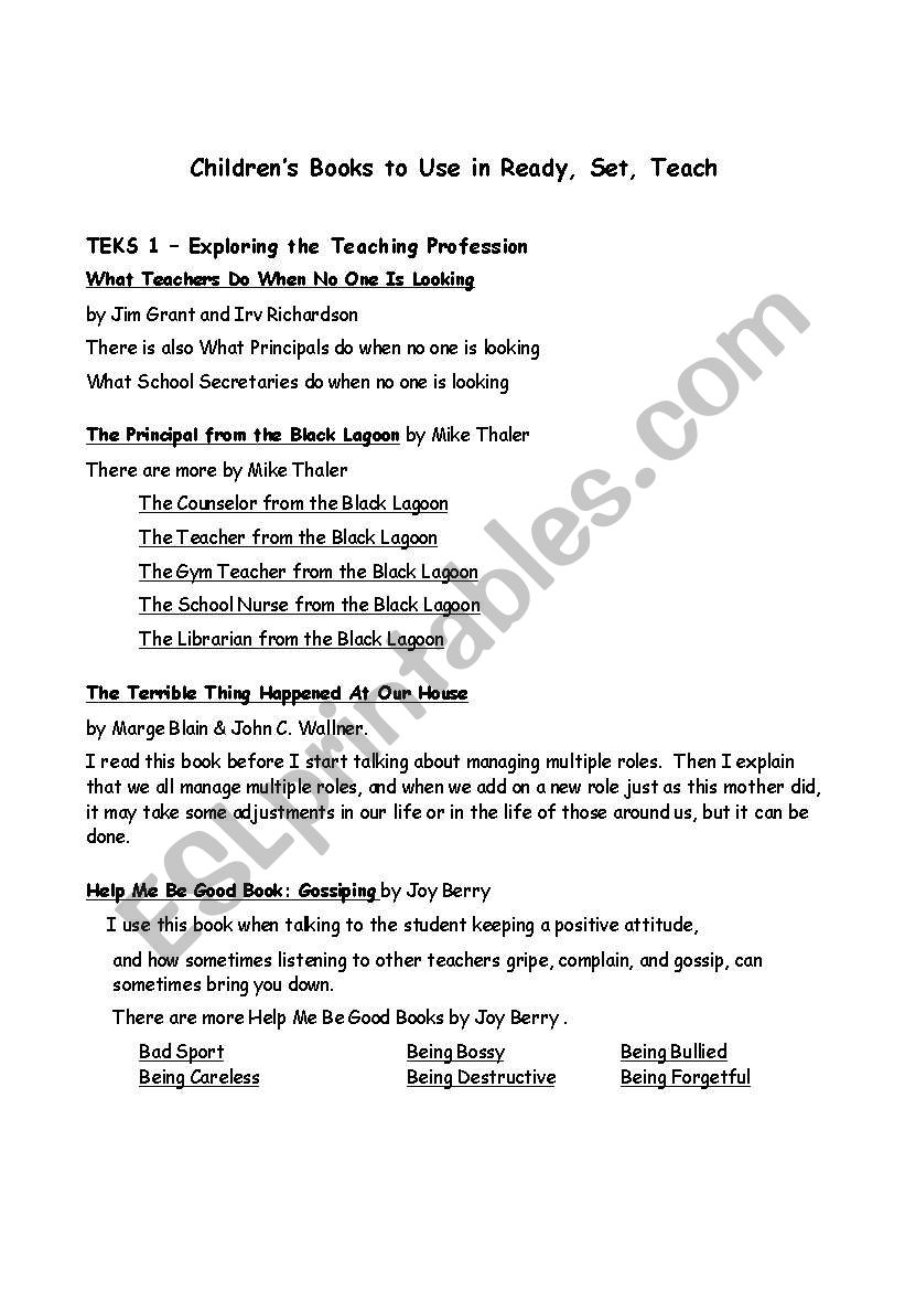 English worksheets: Childrens books for RST