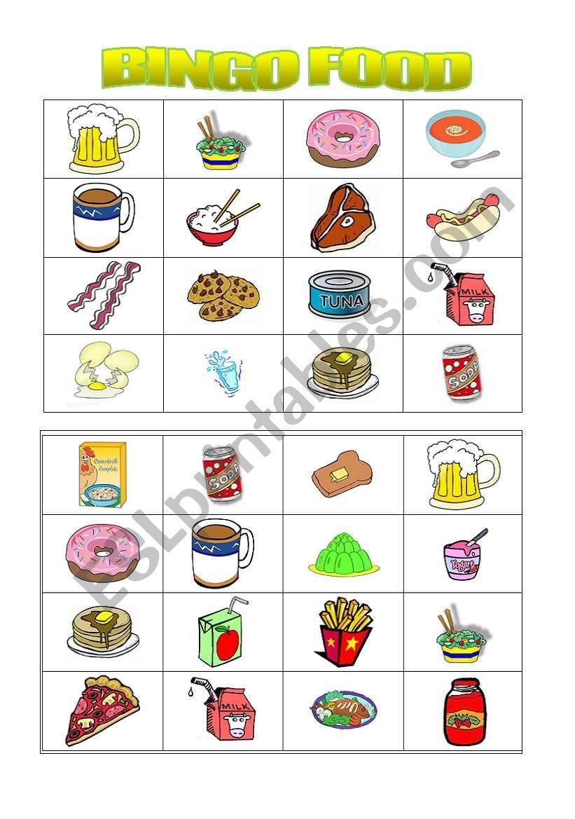 bingo food ( 2nd part) worksheet
