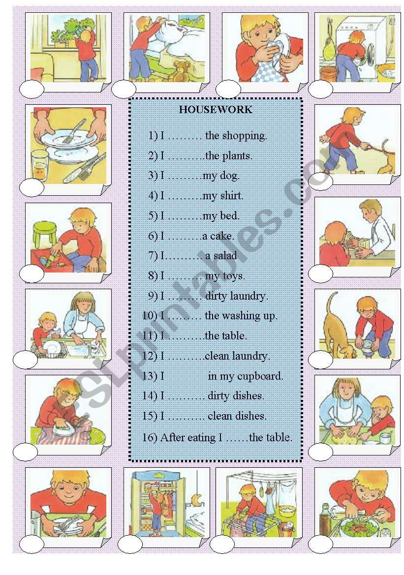 HOUSEWORK level 2/3 worksheet