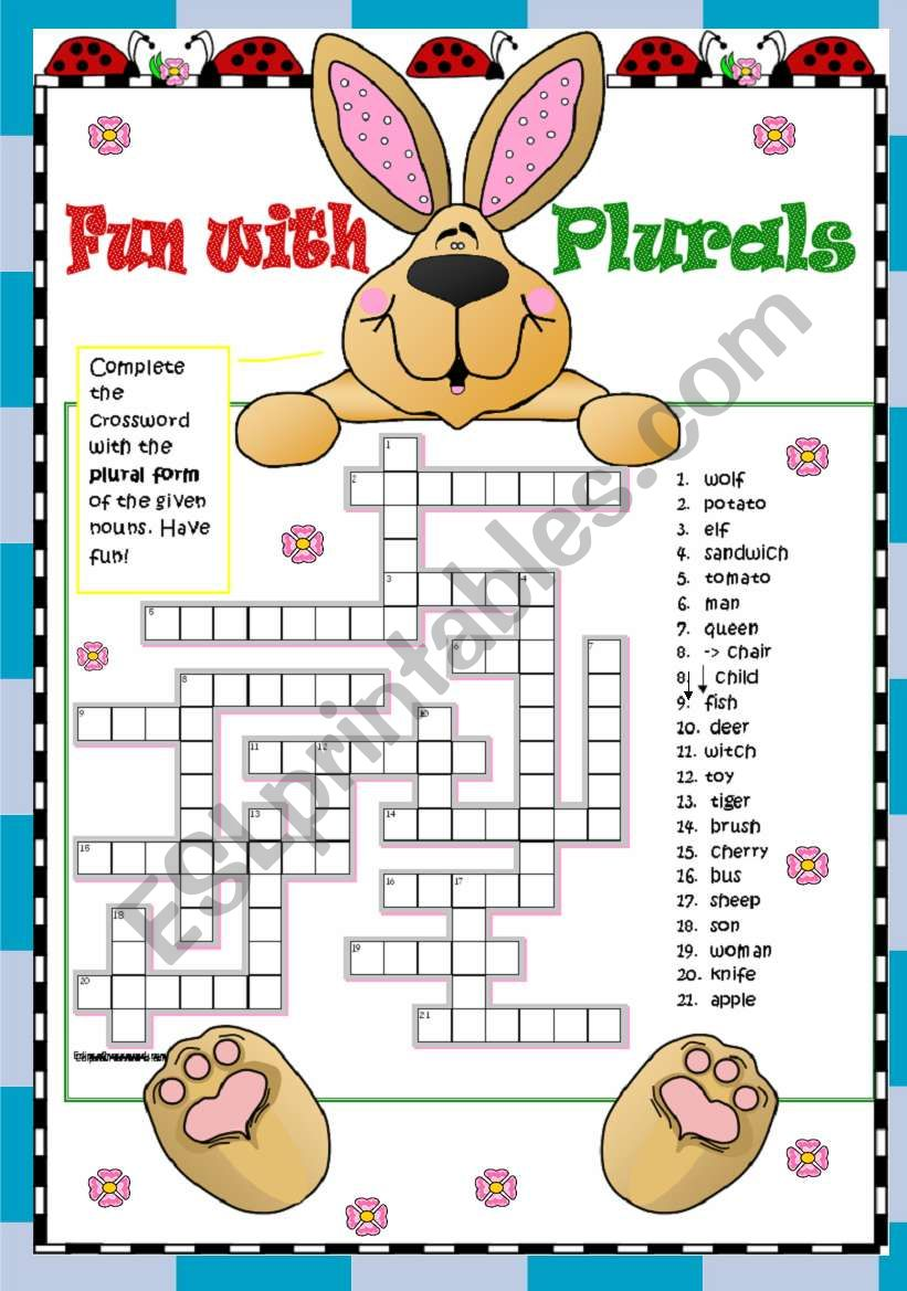 PLurals - Regular and Irregular - Elementary - 2 pgs - key included