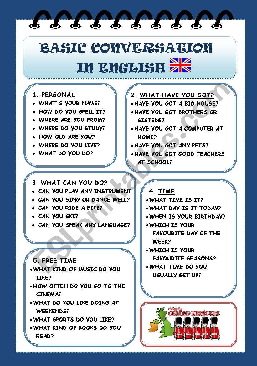 BASIC CONVERSATION IN ENGLISH - ESL worksheet by rachelnoval