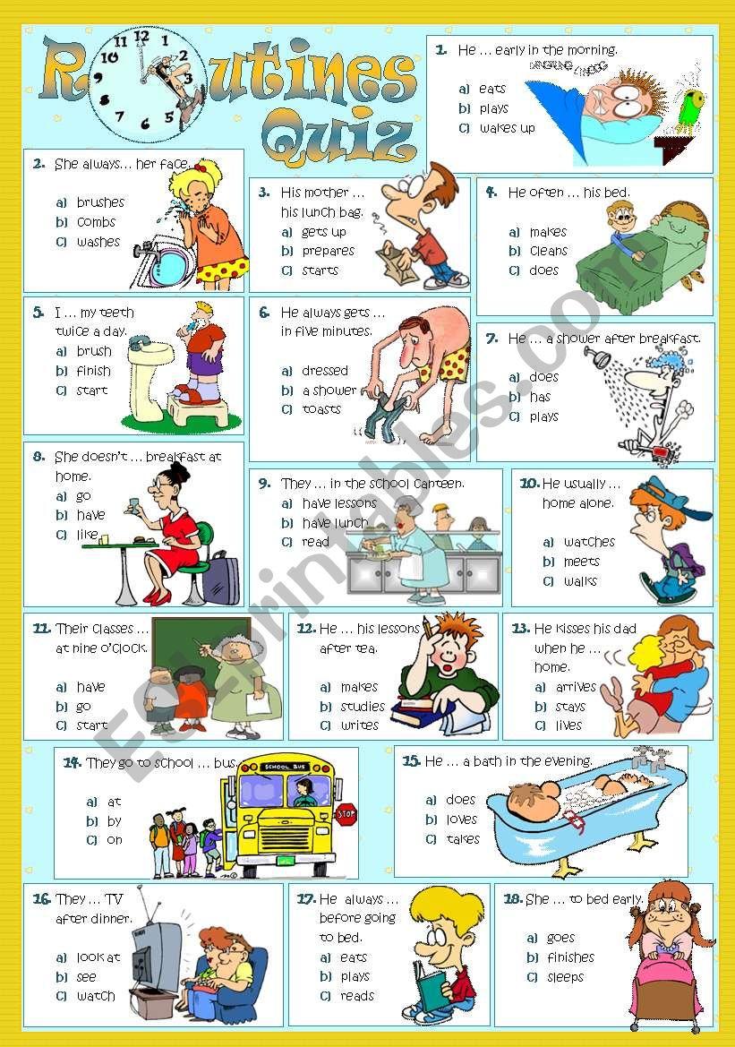 ROUTINES - Quiz worksheet