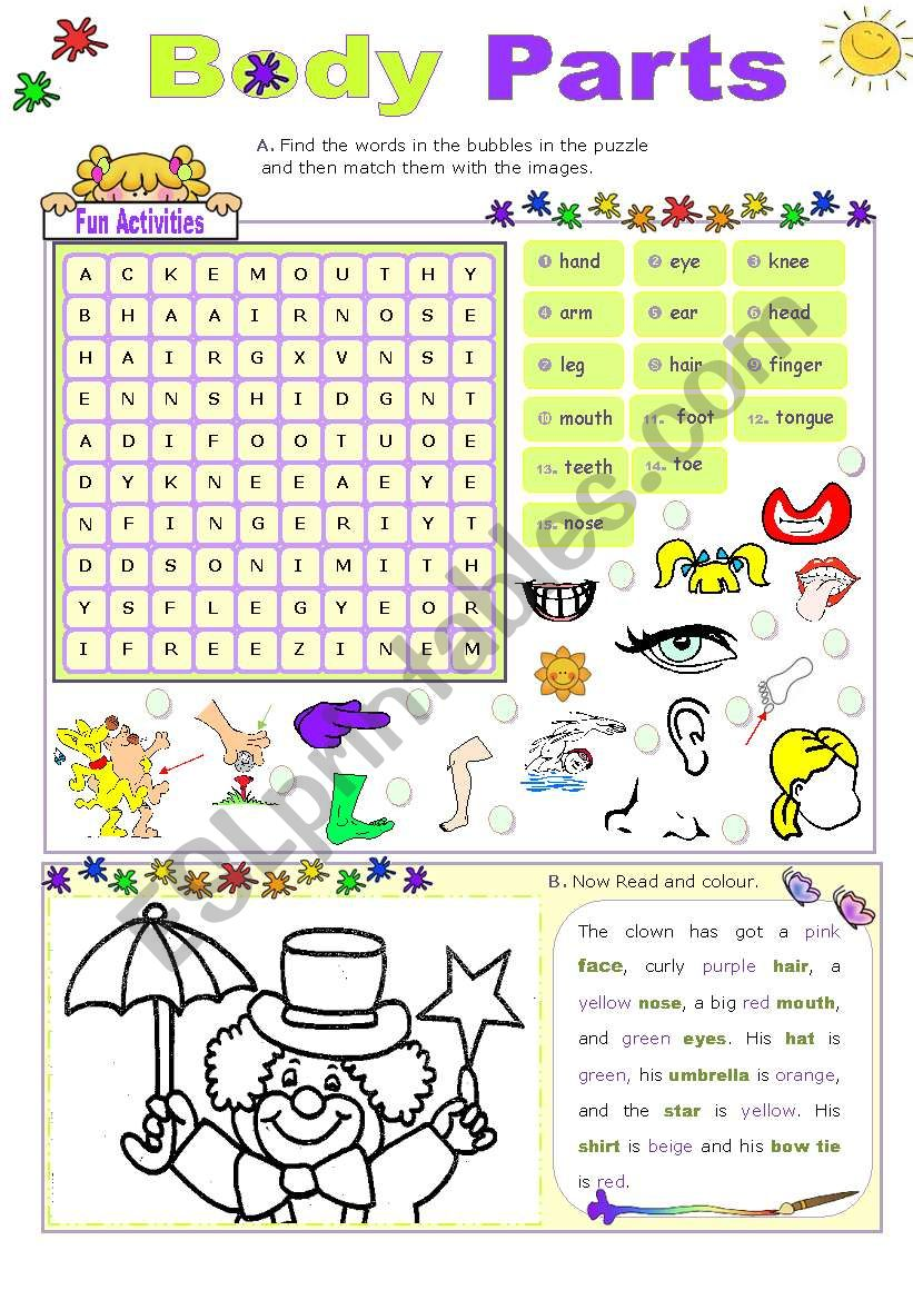 Body parts fun activities esl worksheet by mena22 body parts fun activities worksheet ibookread Read Online