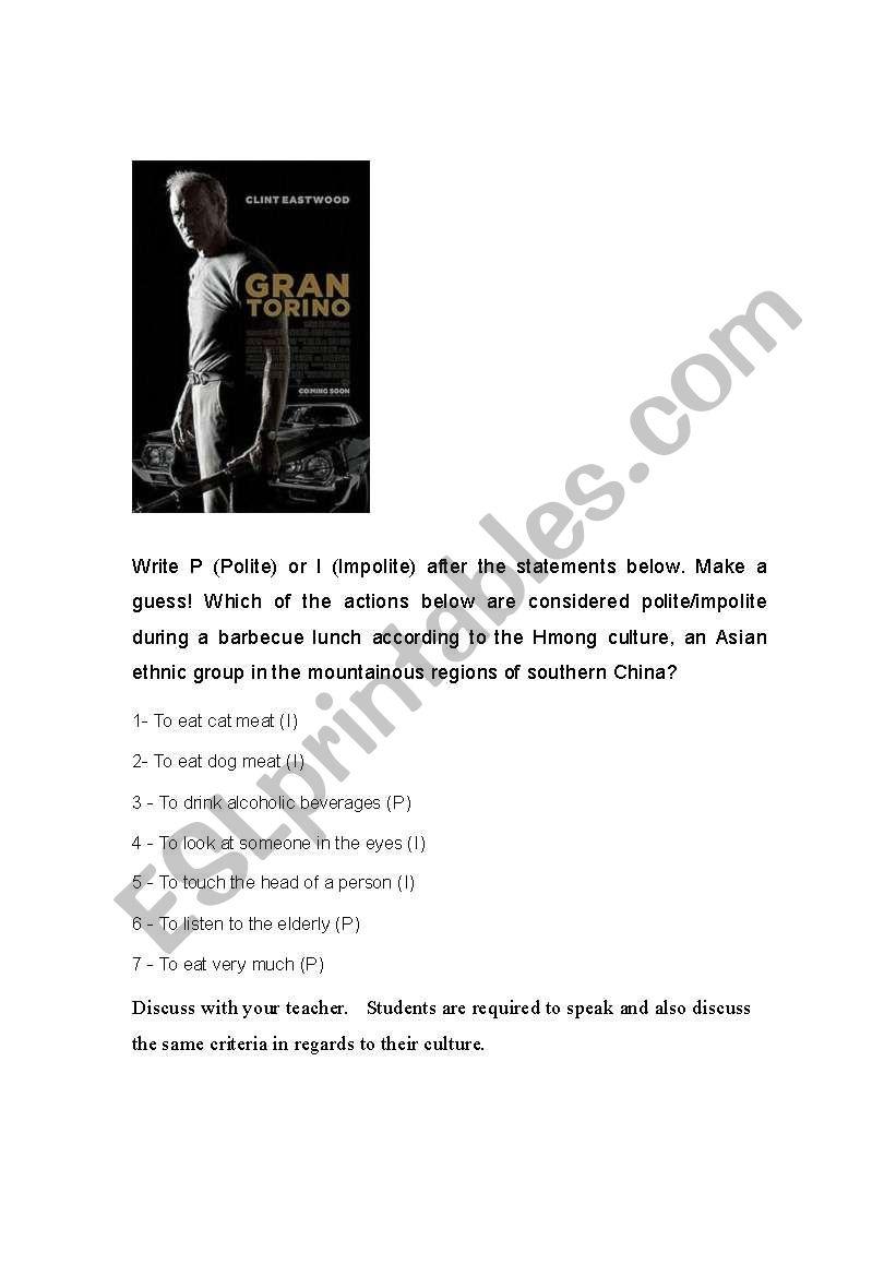 Gran Torino worksheet