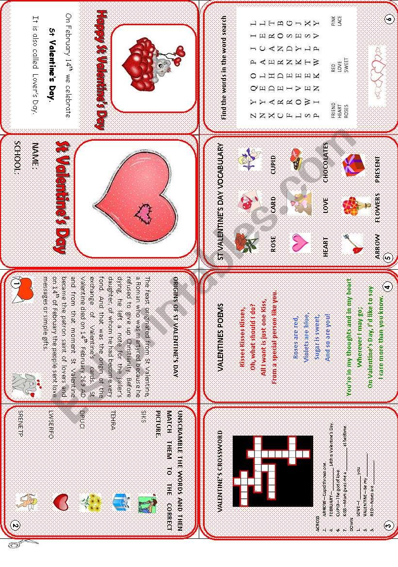 Valentine´s Day mini book worksheet