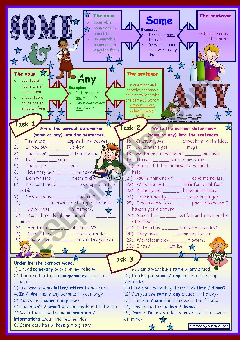 Some and any * for beginners *grammar * 3 tasks * with key *** fully editable***