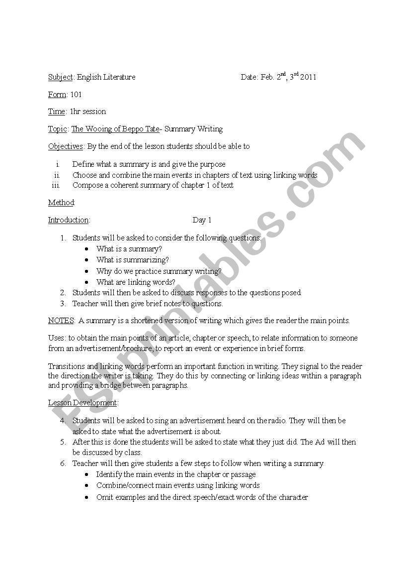 Summary Writing in Novels worksheet