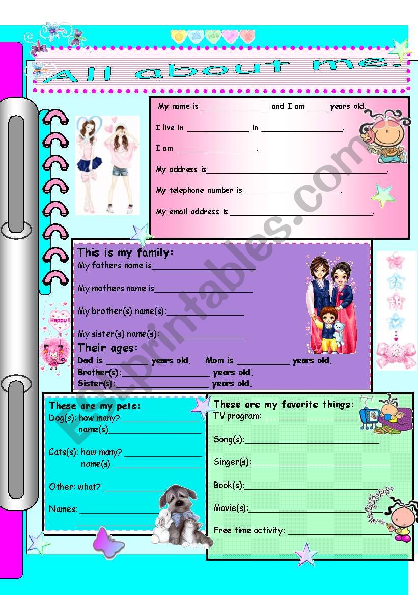 All about me (for girls) Part A