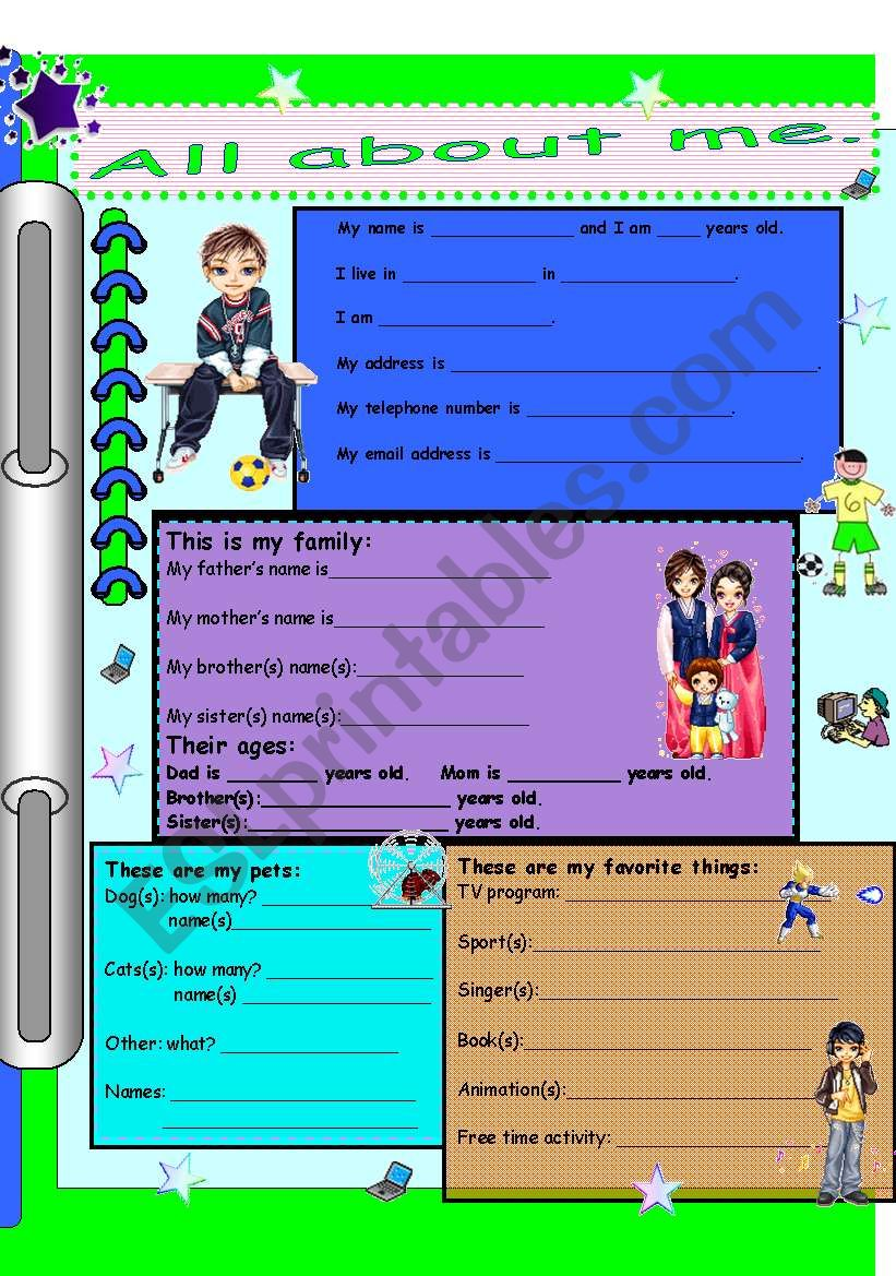 All about me(for boys). worksheet