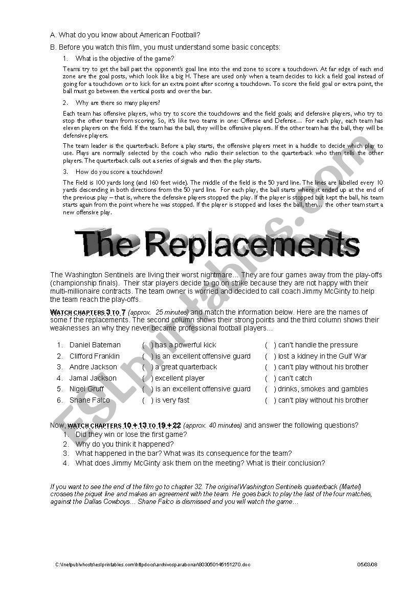 English worksheets: The Replacements - working with movies