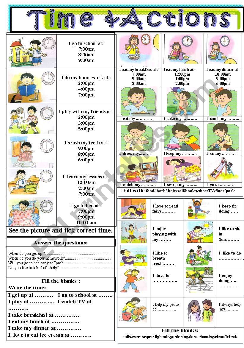 Time & Actions worksheet