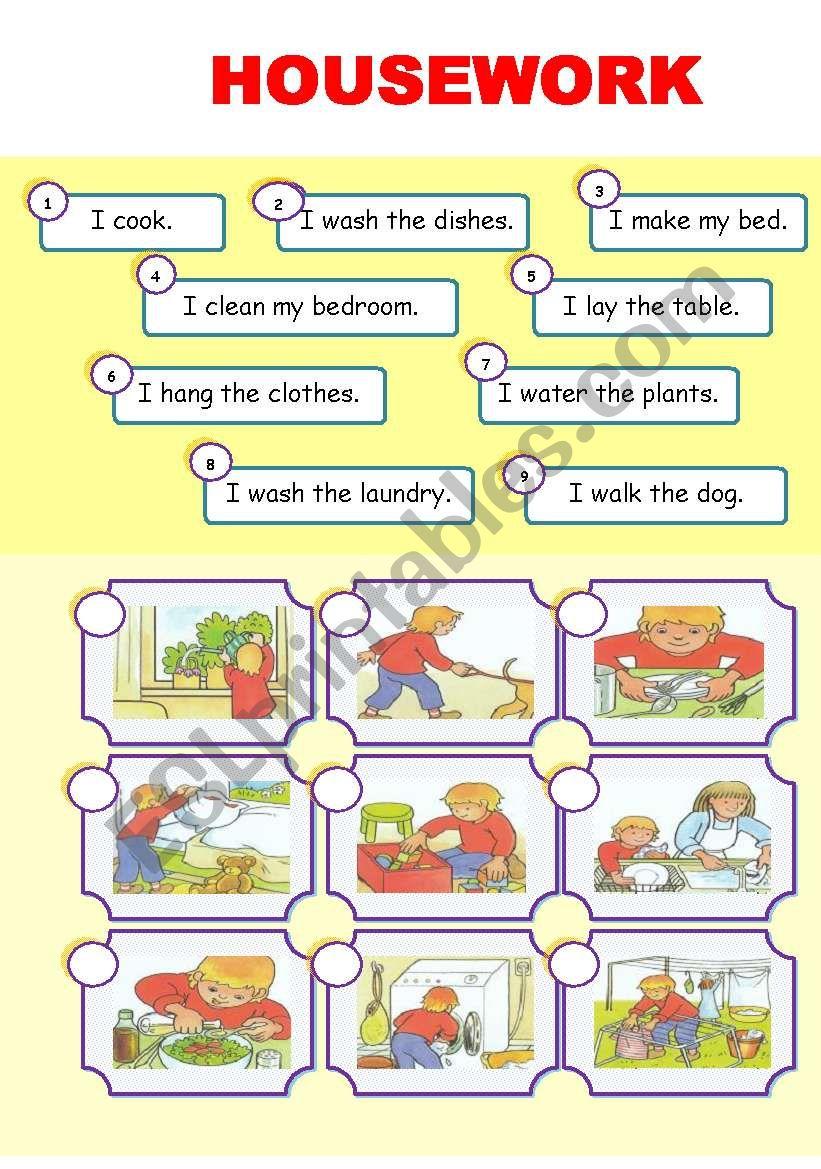 HOUSEWORK  level 1 worksheet