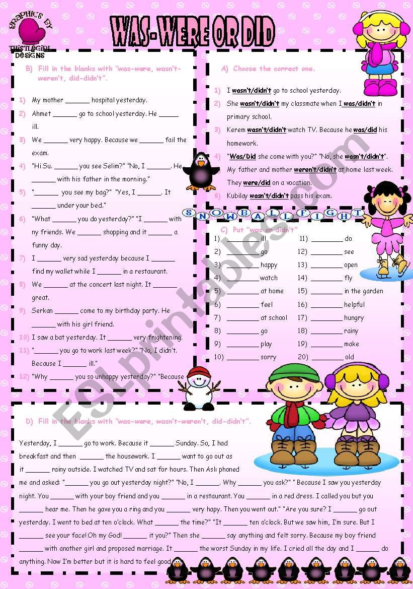WAS-WERE OR DID worksheet